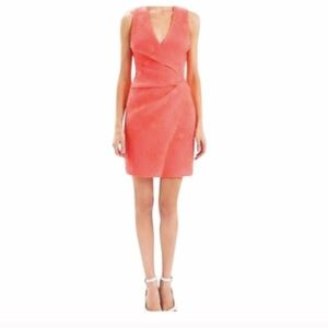 J Mendel Wrap Dress 4 Pink Coral Sleeveless Sheath